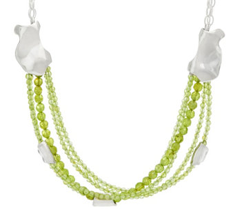 """As Is"" Hagit Sterling Silver Peridot Bead Necklace - J331180"