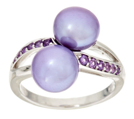 """As Is"" Honora Cultured Pearl 8.5mm Gemstone Bypass Sterling Ring"