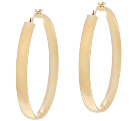 """As Is"" 14K Gold 1-1/2"" Round Polished Wedding Band Hoop Earrings"