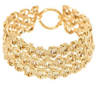 "14K Gold 8"" 3-Row Woven Polished & Textured Bracelet, 12.8g - J333580"