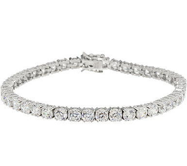 Diamonique 100-Facet Tennis Bracelet, Platinum Clad - J335580