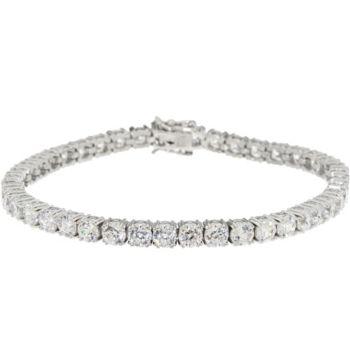 Diamonique 100-Facet Tennis Bracelet, Platinum Clad