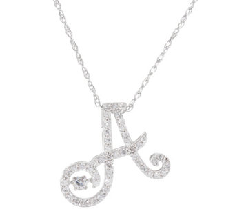 """As Is"" Dancing Diamond Initial Necklace, 1/4ct Sterling Affinity - J346780"