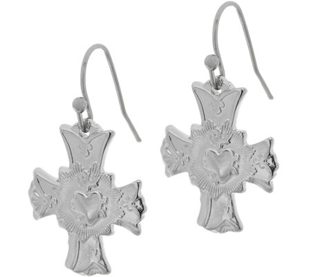 My Saint My Hero Sacred Heart of Jesus Cross Earrings