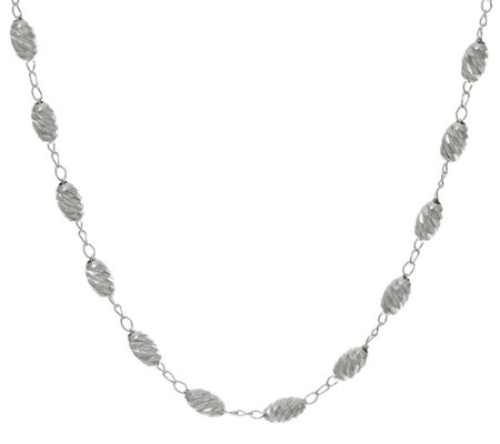 "UltraFine Silver 16"" Diamond Cut Bead Necklace 4.5g"