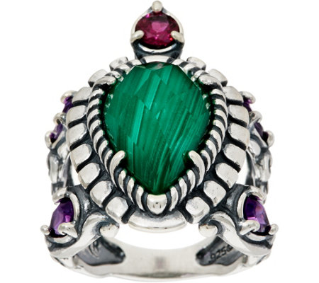 Carolyn Pollack Malachite Doublet Sterling Silver Turtle Ring