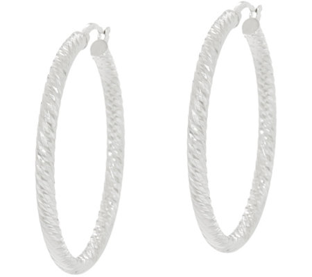 """As Is""Sterling Silver 1-1/2"" Diamond Cut Hoop Earrings by Silver Style"