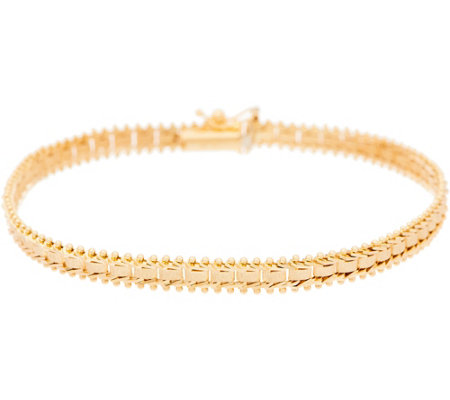 "Imperial Gold 7-1/4"" Satin Sheen Bracelet, 14K Gold, 8.0g"