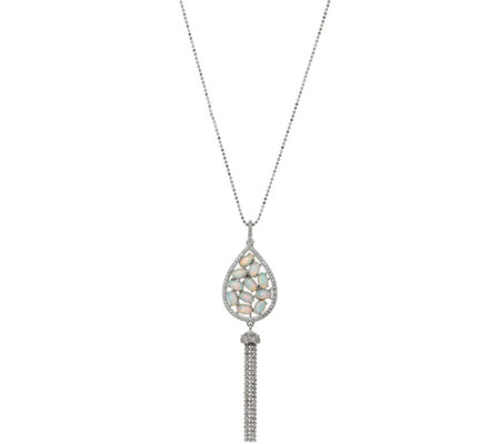 """As Is"" Diamonique and Synthetic Opal Tassel Necklace Sterling"