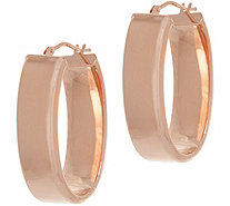 Italian Gold Polished Oval Hoop Earrings, 14K Gold - J355080