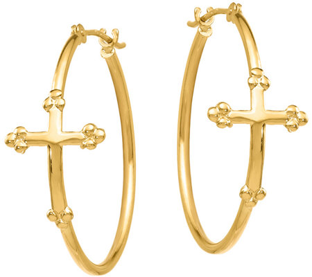 14K Gold Cross Hoop Earrings