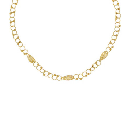 Italian Gold Pear Shaped & Beaded Link Necklace14K, 7.3g