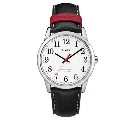 Timex Men's Stainless Black Leather Strap Analog Watch