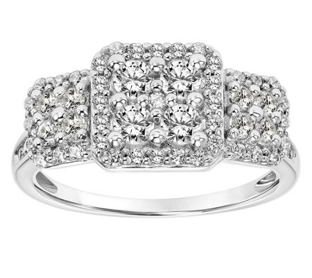 Affinity 14K Gold 1.00 cttw Diamond Round Cluster Halo Ring