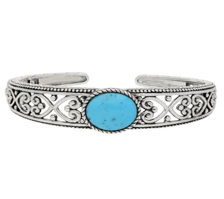 Elyse Ryan Sterling Filagree Turquoise Cuff