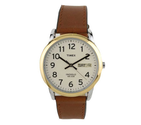 Timex Men S Easy Reader Watch With Brown Leathe R Strap