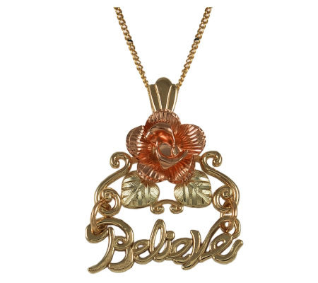 "Black Hills ""Believe"" Message Pendant Necklace, 10K/12K Gold"