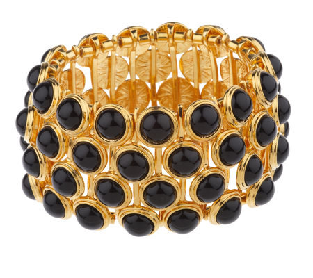 Linea by Louis Dell'Olio Black Bead Stretch Bracelet