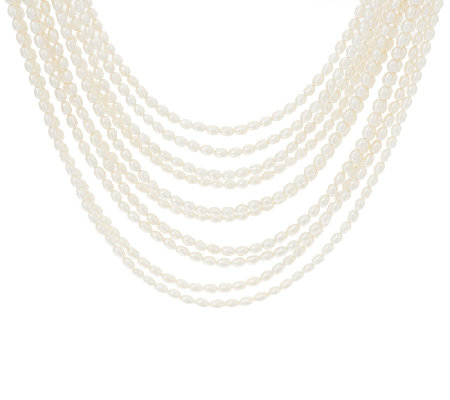 "Honora Cultured Pearl Multi-strand 18"" Sterling Necklace"