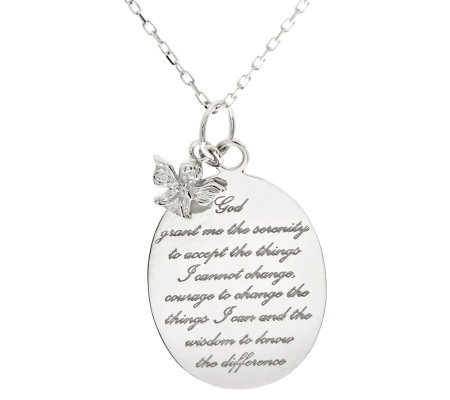 Sterling Polished Serenity Prayer Angel Necklace