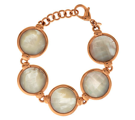 Honora Reversible Mother-of-Pearl Adjustable Bronze Bracelet