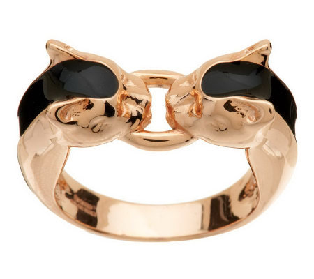 Bronze Panther Head Enamel Ring by Bronzo Italia