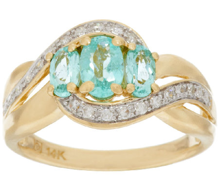 Paraiba Tourmaline & Diamond Ring 14K Gold 0.80 ct tw