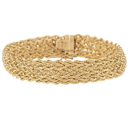"""As Is"" 8"" Bold Intricate Woven Rope Bracelet 14K Gold, 9.4g"
