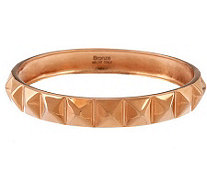 Bronze Average Pyramid Design Polished Round Bangle by Bronzo Italia - J284681