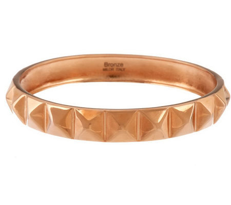 Bronze Average Pyramid Design Polished Round Bangle by Bronzo Italia