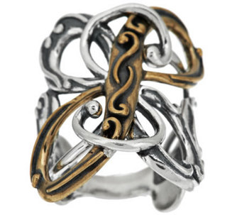 Carolyn Pollack Sterling and Brass Signature Statement Ring - J286381