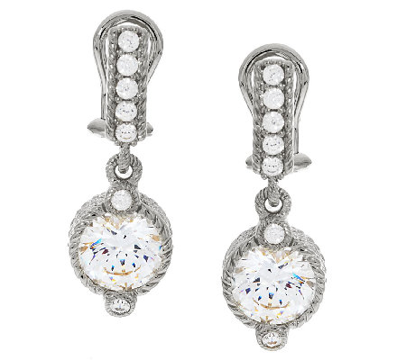 Judith Ripka Sterling 118 Facet Diamonique Drop Earrings