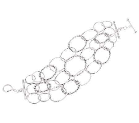 """As Is"" Michael Dawkins Sterling Chain Small Multi Row Bracelet"