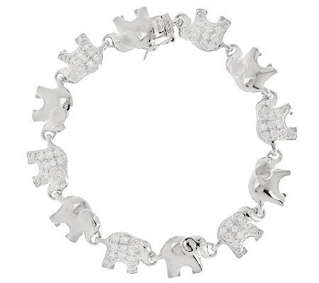 Diamonique Polished and Pave' Elephant Bracelet, Sterling