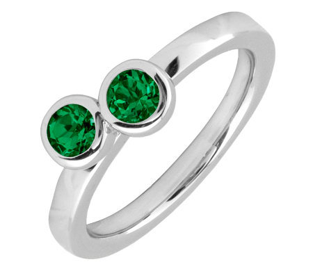 Simply Stacks Sterling & Created-Emerald DoubleCircle Ring