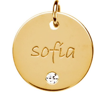 Posh Mommy 18K Gold-Plated Large Disc Sim. Birthstone Pendant