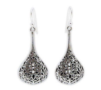 Novica Artisan-Crafted Sterling Filigree Drop Earrings - J304181