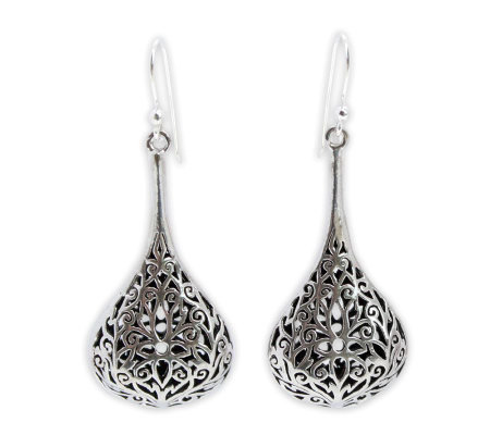 Novica Artisan-Crafted Sterling Filigree Drop Earrings