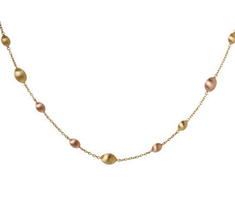 "Arte d'Oro 36"" Two-tone Satin Bead Necklace, 18K Gold, 33.0g - J304881"