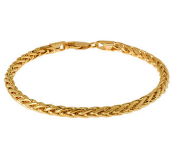 "Veronese 18K Clad 8"" Polished Wheat Chain Bracelet - J305581"