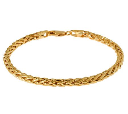"Veronese 18K Clad 8"" Polished Wheat Chain Bracelet"