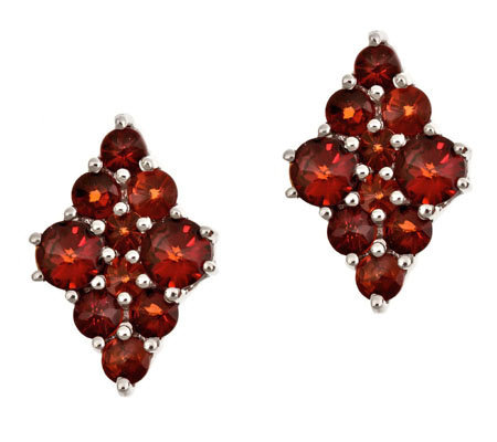 1.50 ct tw Garnet Diamond-Shaped Cluster Earrings, Sterling