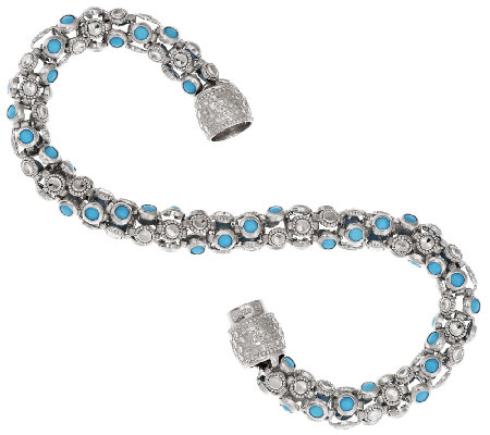 "Sleeping Beauty Turquoise Diamond Cut 7-1/4"" Twist Design Bracelet"
