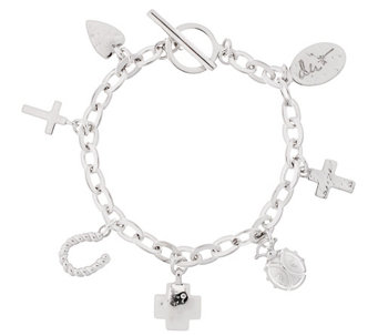 "Shawn's ""Courage Charms"" Sterling 8"" Bracelet 33.1g - J318381"