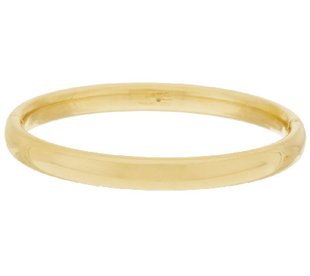 Bold Polished Small Oval Hinged Bangle, 14K