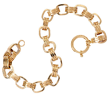 "14K Gold 7-1/4"" Polished Triple Rolo Link Bracelet, 8.2g"