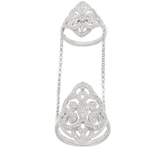 Pave' Design Diamond Double Ring w/ Chain, 1/2 cttw, by Affinity - J321381