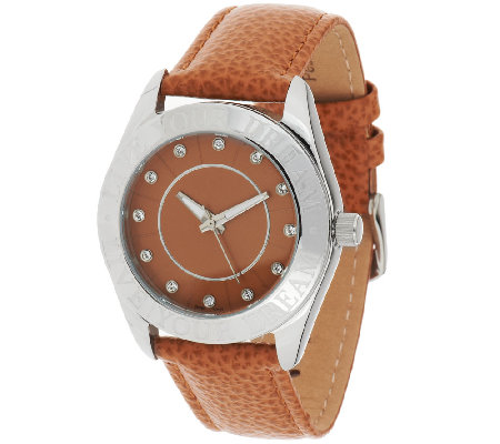 Stainless Steel Live Your Dream Round Case Leather Strap Watch