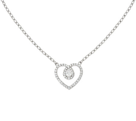 Judith Ripka Sterling Diamonique Heart Necklace