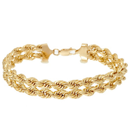 "14K Gold 8"" Polished Double Rope Bracelet, 7.5g"